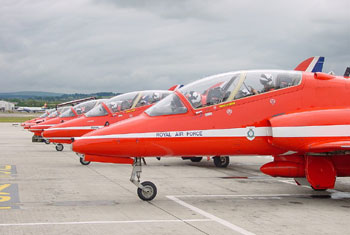 Red Arrows on the ground